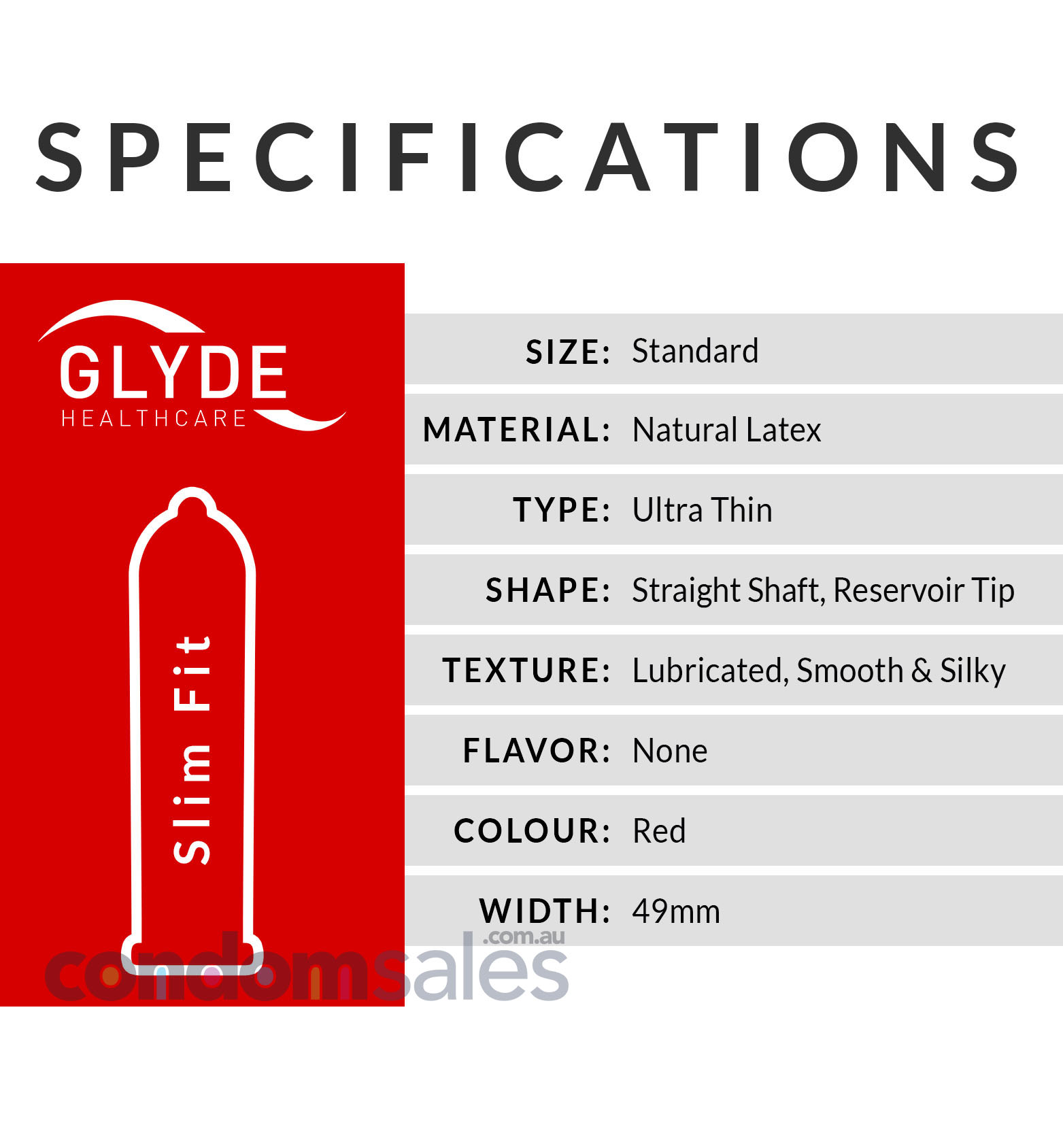 Glyde Slim Fit RED - Small 49mm Condoms