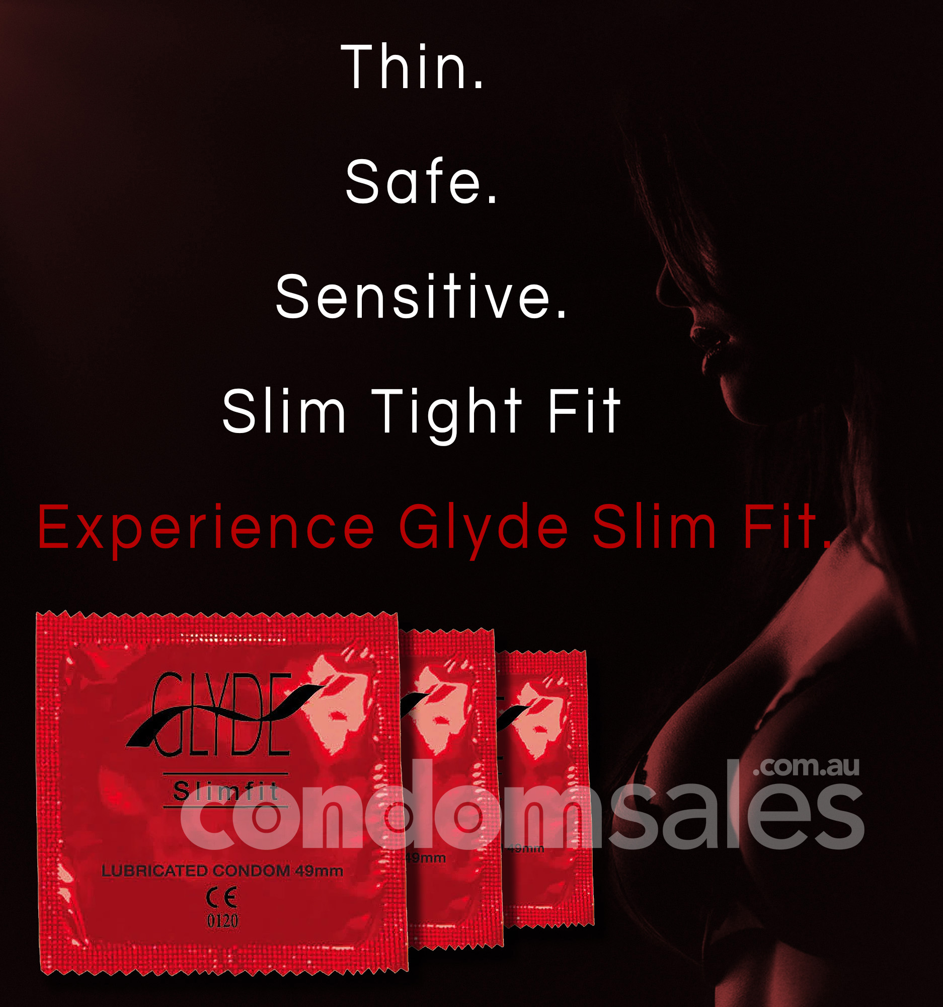 Glyde Slim Fit RED - Small 49mm Condoms (24 Pack)