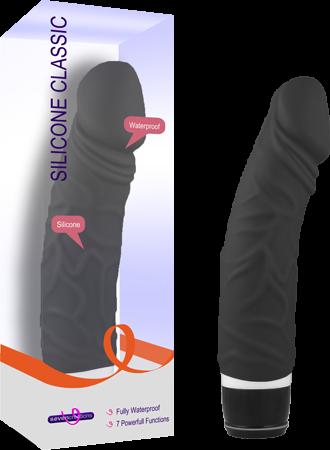 Silicone Classic Black Vibrator Seven Creations