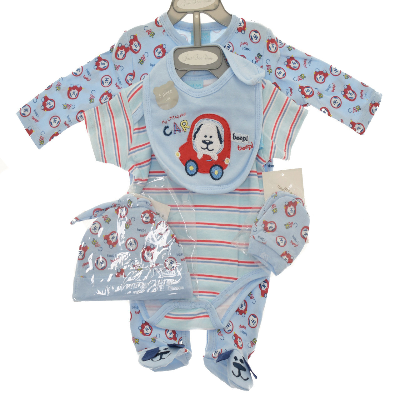 Baby Boys 5 piece Gift set Layette Sea Puppies NB-6mth