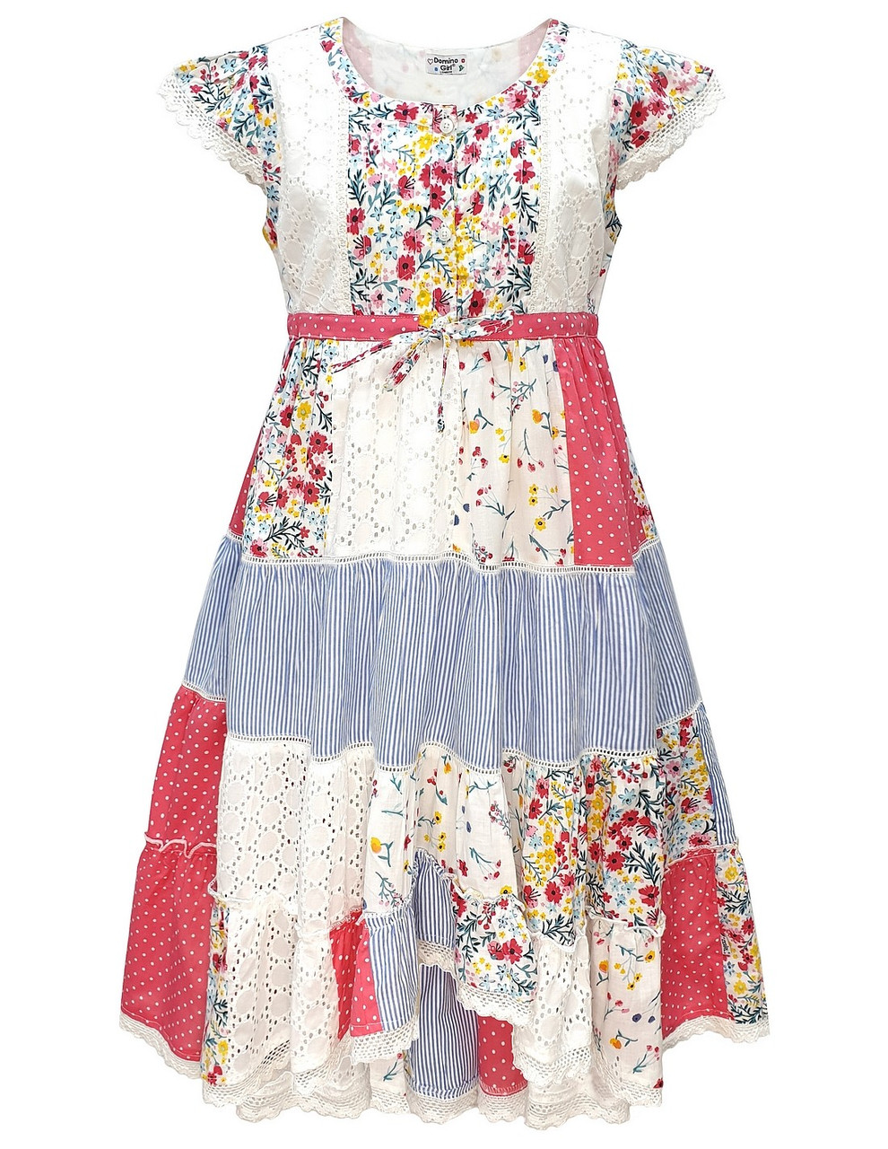 Girl/'s Floral Butterfly Patchwork Print Hanky Party Sun Dress