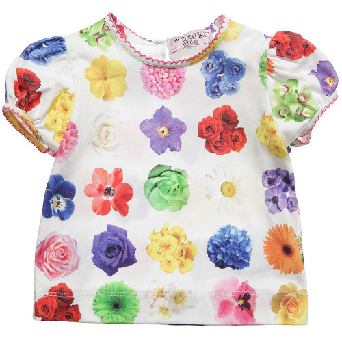 Monnalisa Bebe Girls Colourful Floral Print White T-Shirt WAS £43 Now £16.00