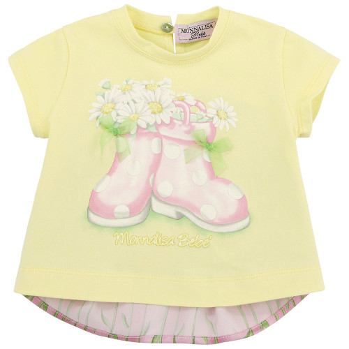 Monnalisa Bebe Tunic Top with Boot Print with Daisies and Glittered Front