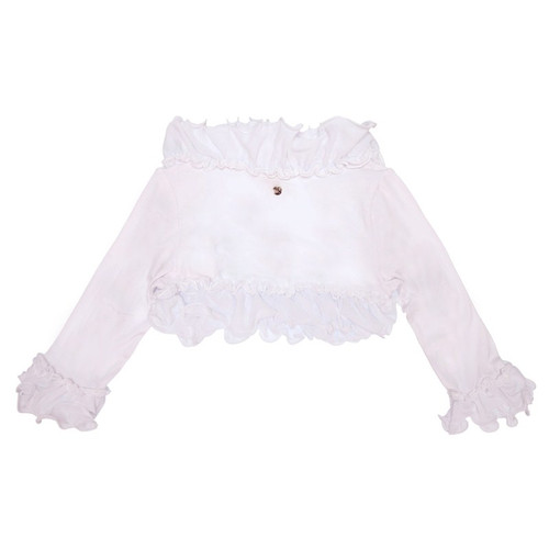 MissGrant White Shrug with Curly Ruffle & MG charm