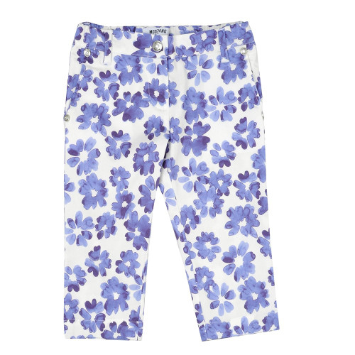 Moschino Girls Straight Leg Cut Floral White Trousers £72.00 Now £29.99