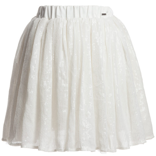 DKNY Girls Off-White Skirt with Sewn Sequin in Pleats