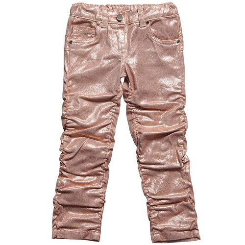 Miss Grant Girls Ruched Hem Sparkly Peach Trousers