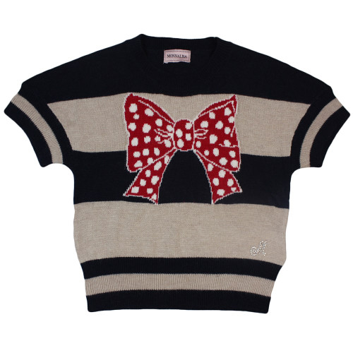 Monnalisa Girls Knitted Jumper With Contrasting Red and White Bow