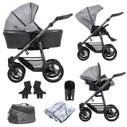 Venicci Carbo LUX Complete 3 in 1 Travel System - Natural Grey