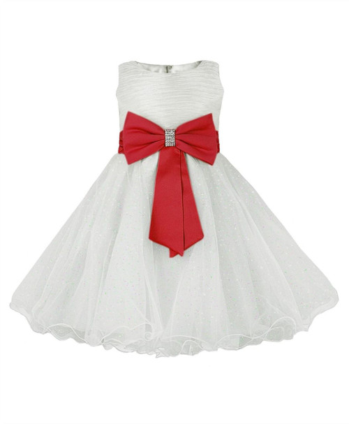 Girls big bow party dress In Ivory/Red