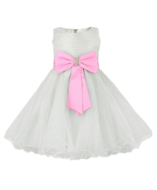 Girls big bow party dress In Ivory/Pink