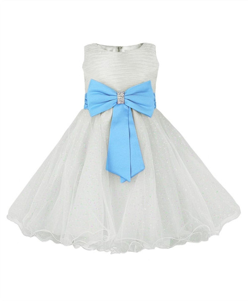 Girls big bow party dress In Ivory/turquoise