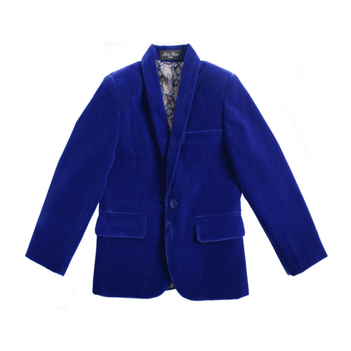 BOYS VELVET BLAZER SUITE JACKET ROYAL BLUE