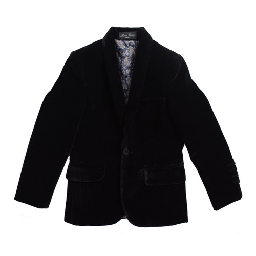 BOYS VELVET BLAZER SUITE JACKET - BLACK