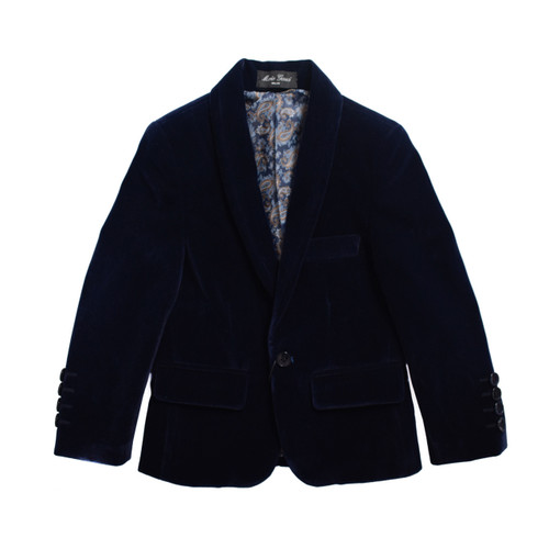 BOYS VELVET BLAZER SUITE JACKET - Navy