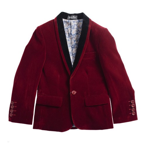 BOYS VELVET BLAZER SUITE TUXEDO JACKET - WINE/BLACK