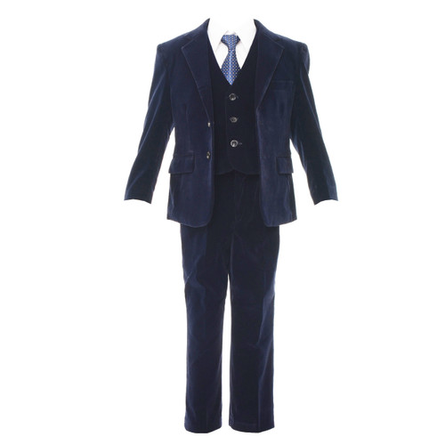Boys slim fit velvet 5pcs suit - navy