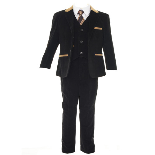 Boys 5pcs cord formal suit - black