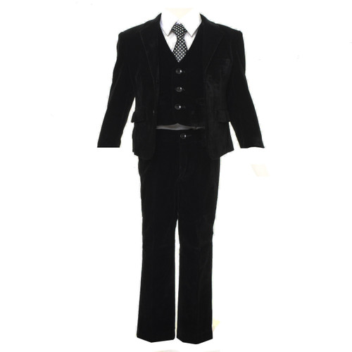 Boys black 5pcs velvet slim fit suit