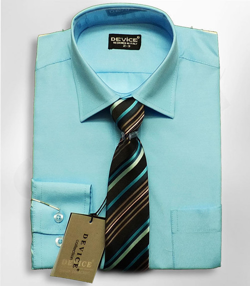 Shirt And Tie Set Boys Formal/Smart Shirt Long Sleeved By D Ideal For Weddings Ages 6M-15Years - AQUA