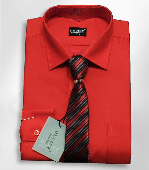 Kids Device Formal Red Shirt & Tie Ideal for Party or Wedding