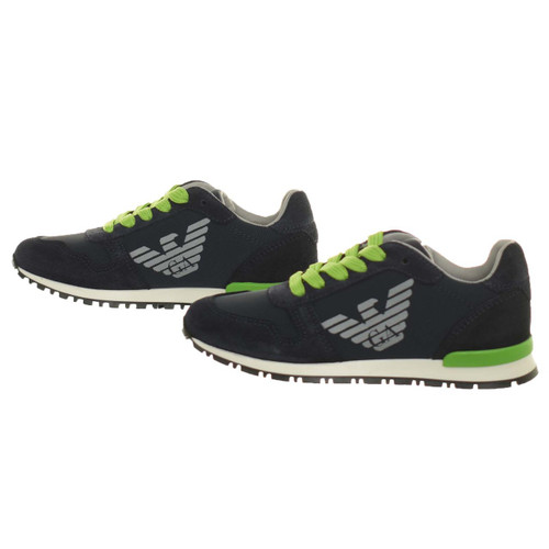 Armani Boys Navy sneakers with lime laces