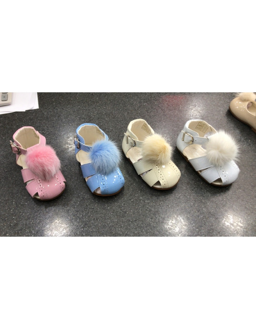 New Baby Girls Pom Pom Patent Shoes 3-10 (Pink, Pale Blue, White, Beige)