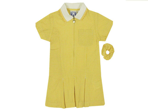 Girls' Gingham Pleated Dress -Summer Uniform Dresses