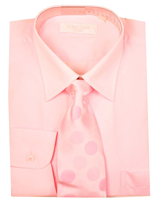 Boys Formal Slim Fit Shirt And Tie By Sebastian - Pink