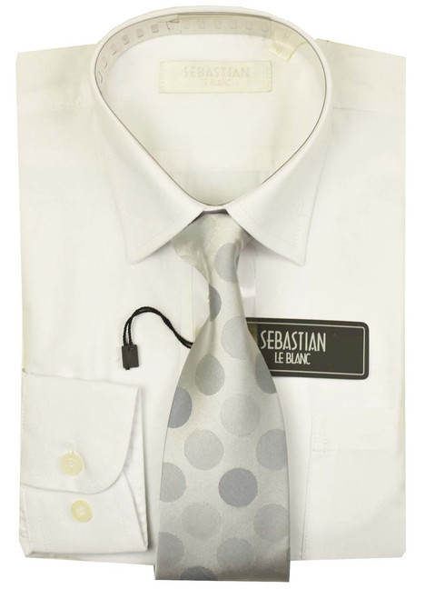 Boys Formal Slim Fit Shirt And Tie By Sebastian - White