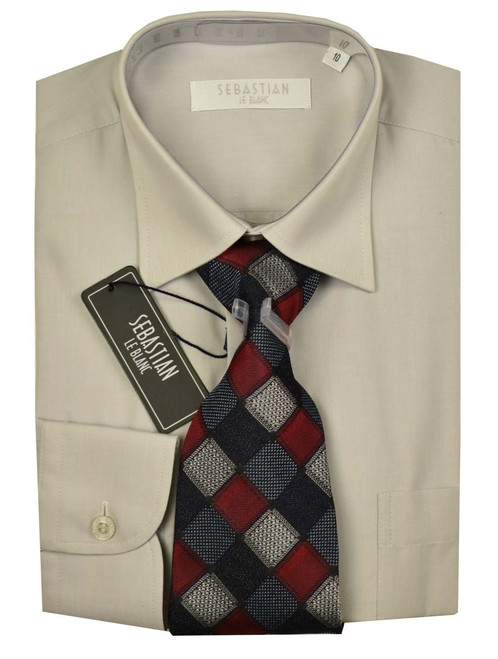Boys Formal Slim Fit Shirt And Tie By Sebastian - Light grey