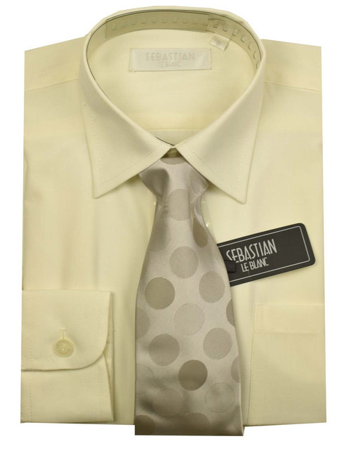 oys Formal Slim Fit Shirt And Tie By Sebastian - Ivory