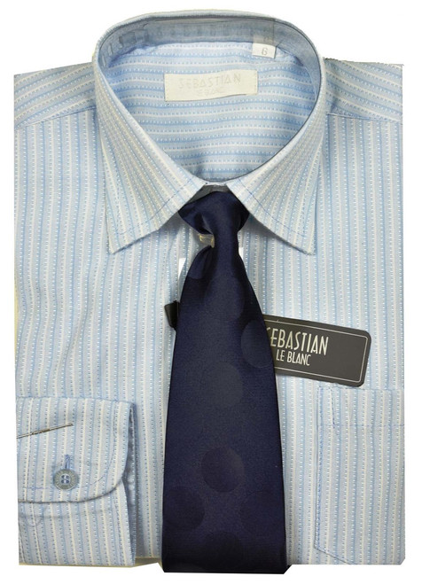 Boys Formal  Shirt And Tie By Sebastian - Blue stripe (Special black friday)