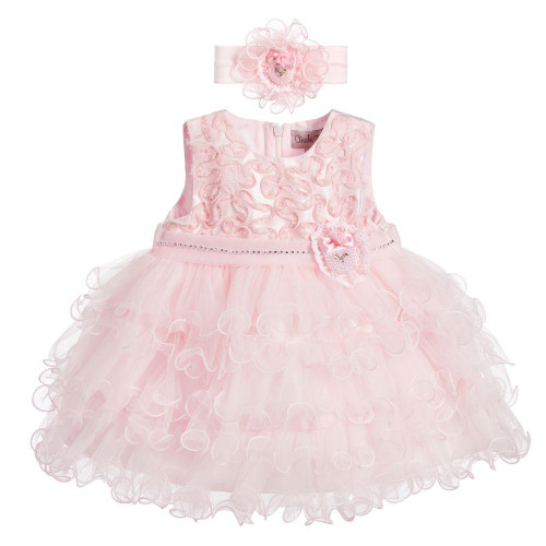 Baby Girls Pink Tulle Ruffle Dress with Headband