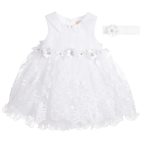 Couche Tot Baby Girls White Lace Flower Dress with Headband