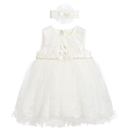 COUCHE TOT Baby Girls Ivory Lace Dress & Headband