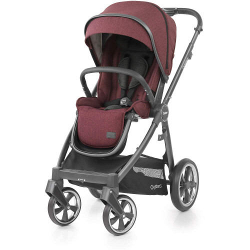 BabyStyle Oyster 3 City Grey Stroller (Berry) with Carrycot