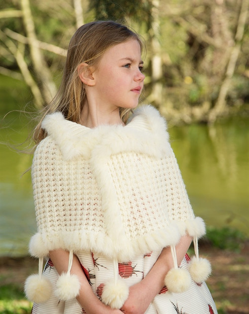 Couche Tot Girls Pom Pom Knitted Poncho - Red