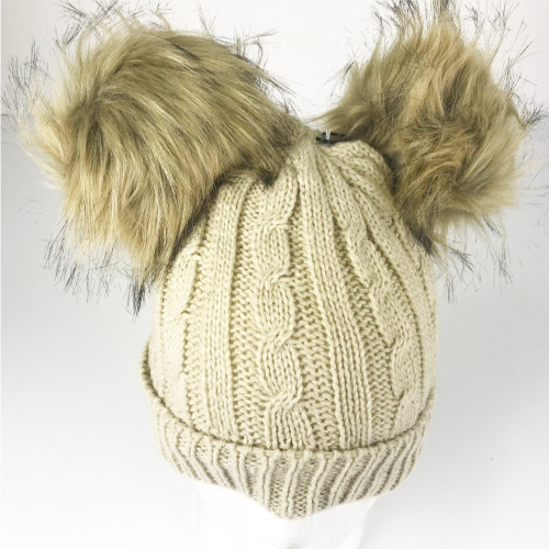 Girls Detachable Pom Beanie Boys Winter Faux Fur Double Pom pom Beanie