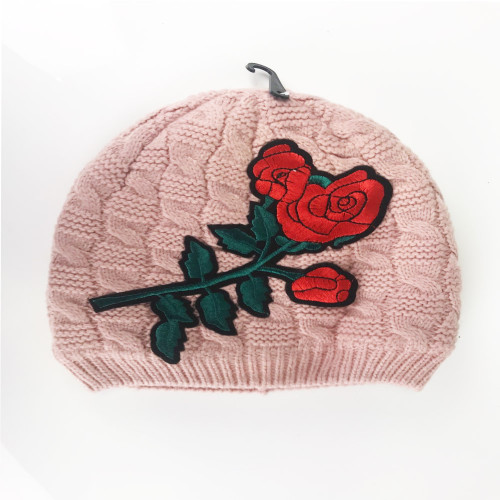 Girls Beautiful  Applique Winter Knitted Hat