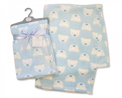 PRINTED BABY WRAP - TEDDY - SKY BLUE