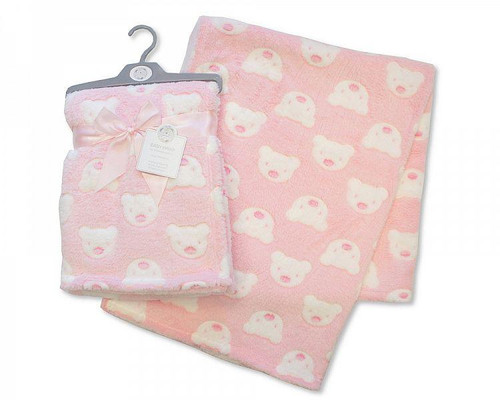 PRINTED BABY WRAP - TEDDY - PINK