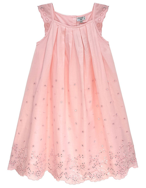 Domino Girl Coral Embroidered Border Sequin Flare Dress