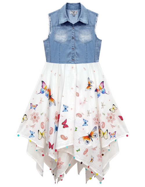 Domino Girl's 100% cotton with Denim Top Butterfly Print Hanky Dress