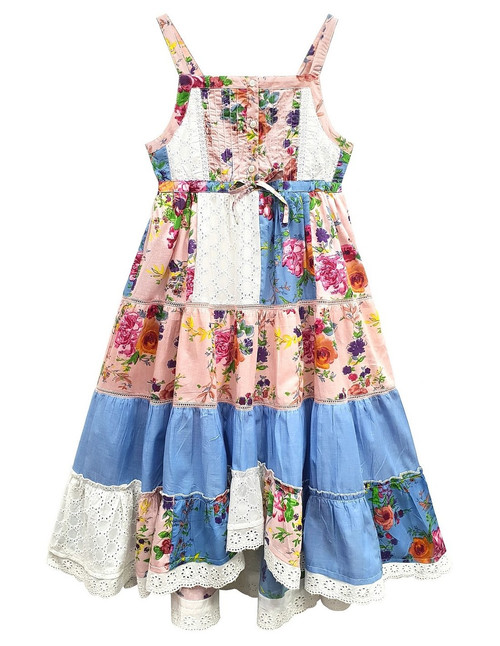 Domino Girl's 100% cotton Layered Patchwork Print Lace Dress
