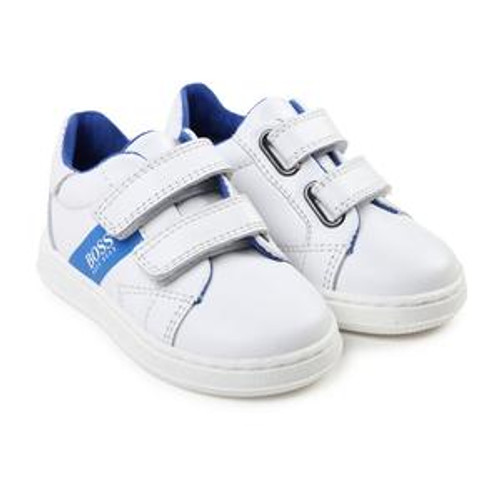 Boss Kids' leather trainers with contrast logo stripe