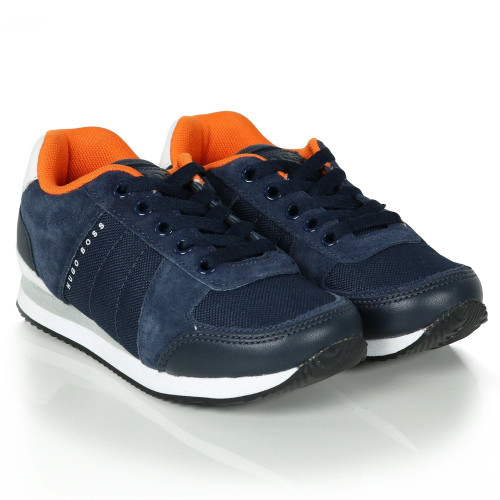HUGO BOSS KIDS BOYS NAVY SUEDE & CANVAS TRAINERS
