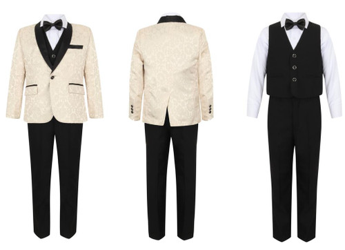 Boys Self Print Gold Tuxedo Suit
