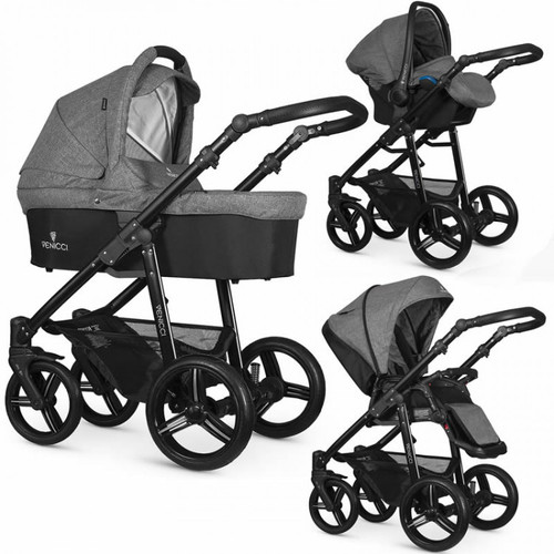 Venicci 3 in 1 Travel System Soft Denim Grey, Black Chassis / White Chassis