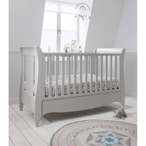 Tutti Bambini Roma Space Saver Sleigh Cot Bed + Drawer (Dove Grey)